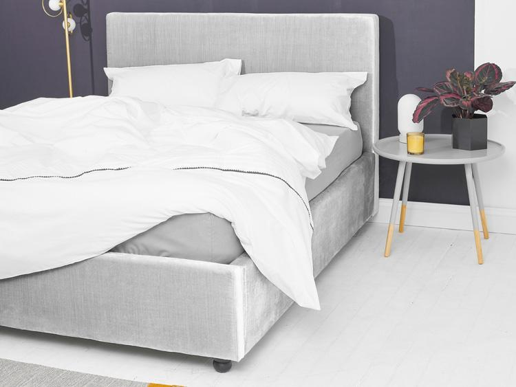 Silver Velvet Bed - Plain Double