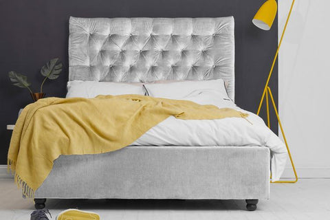 Ottoman Bed, King Size with Silver Velvet Buttoned Headboard