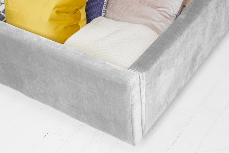 Silver Velvet Ottoman Bed - Scroll Double