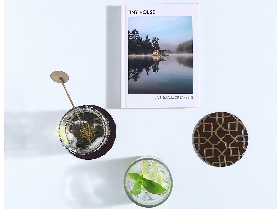 The Route-Leather Coasters(Set of 4)