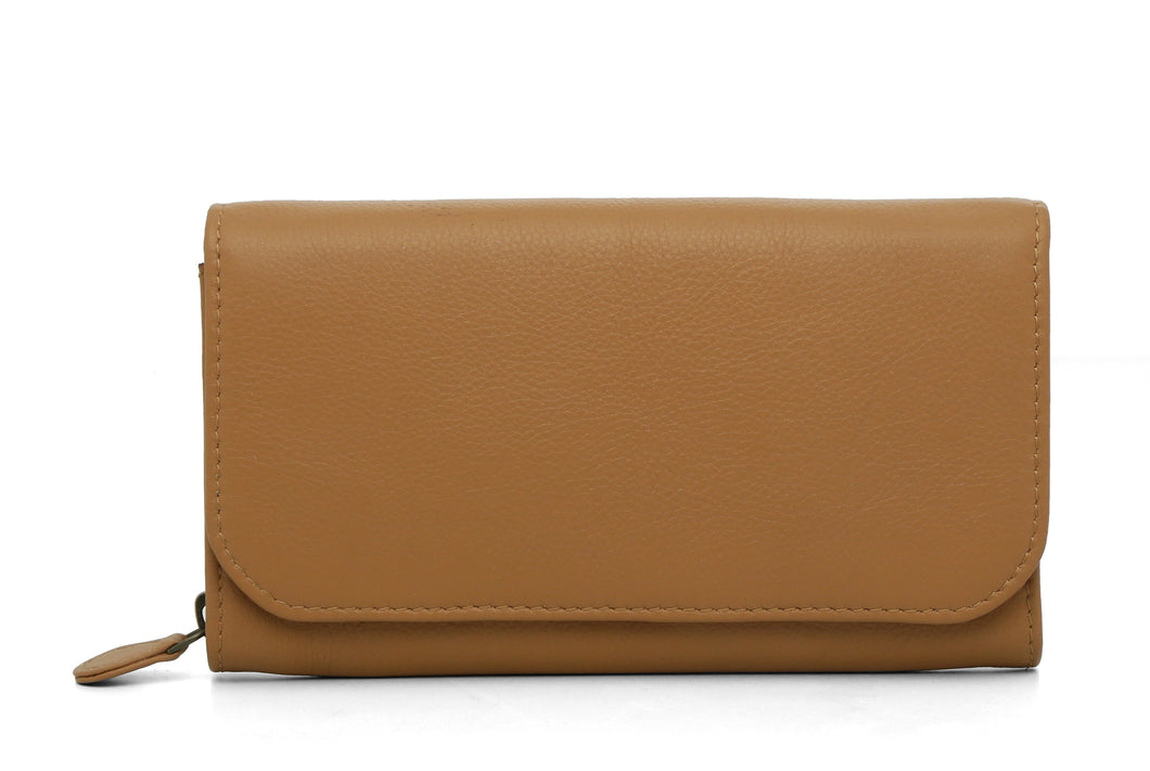 Bi Fold Leather Wallet - Camel