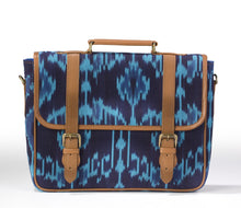 Laptop Briefcase- Blue Ikat
