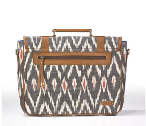 Laptop Briefcase- Grey Ikat