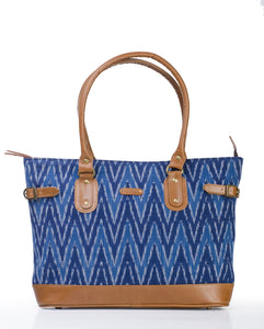 Tote- Blue Ikat Durrie