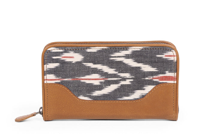 Brick Wallet- Grey Ikat