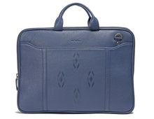 Blue Leather laptop bag-Ikat imprints