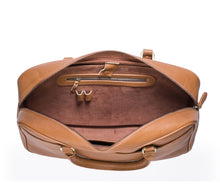 Tan Leather briefcase- Ikat Imprints
