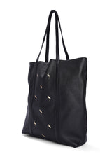Leather Tote Black- Flamingo