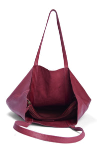 Leather Tote Maroon- Flamingo
