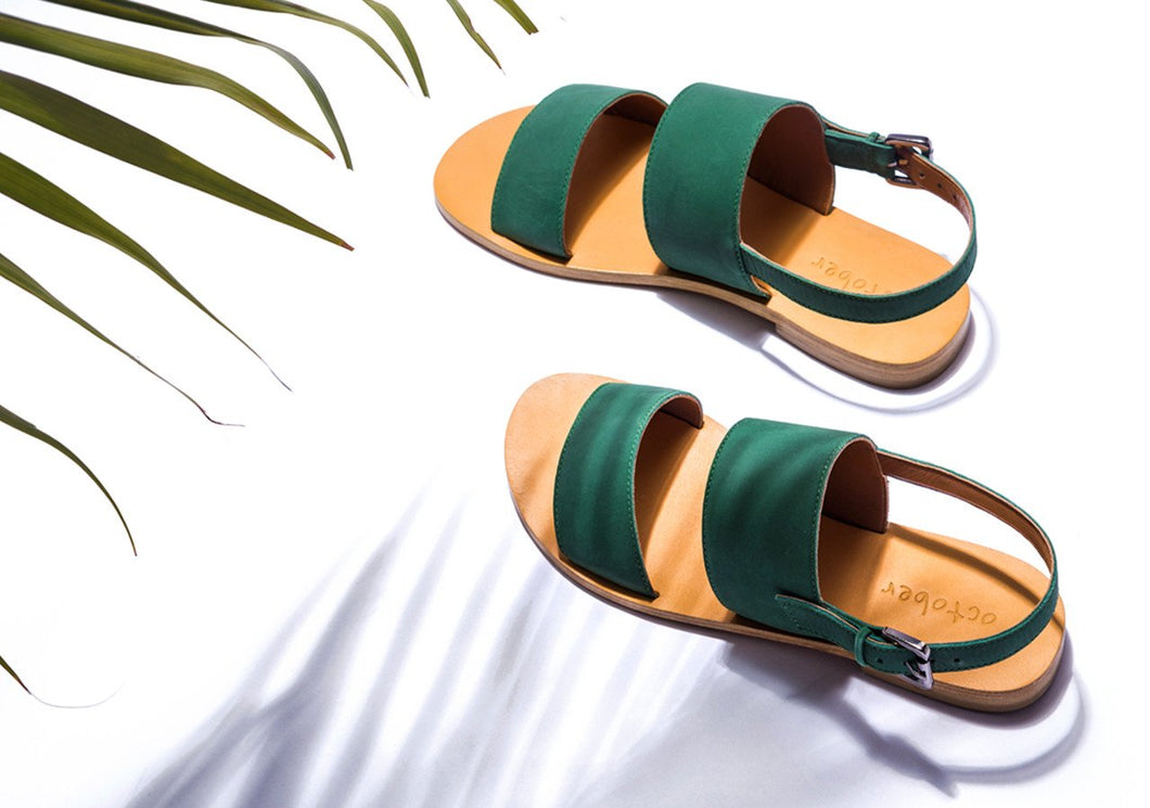 DOUBLE STRAP SANDAL- GREEN