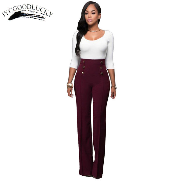 ... Women Flare Pants / Trousers With High Waist Includes Plus Size High    Business Office Wear ...