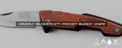 Grizzly Bushcraft Pocket Buddy - Wood / Leather