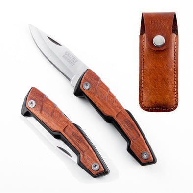 Grizzly Bushcraft Legal Carry Pocket Buddy Knife With Sheath (Wood & Leather)