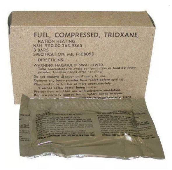 Genuine U.S Army Issue Compressed Trioxane Ration Fuel Bars x 3