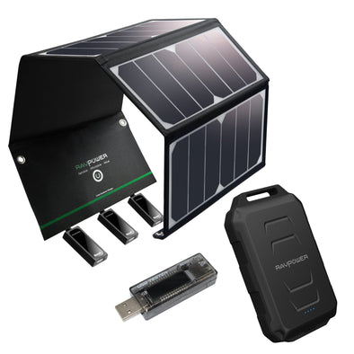 UKSN RAVPower complete 24w Solar Bundle with 10050mAH powerbank and Multimeter