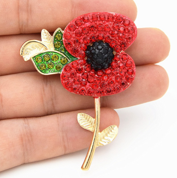 Remembrance day crystal poppy flower with leaf brooch qualitygifts remembrance day crystal poppy flower with leaf brooch mightylinksfo