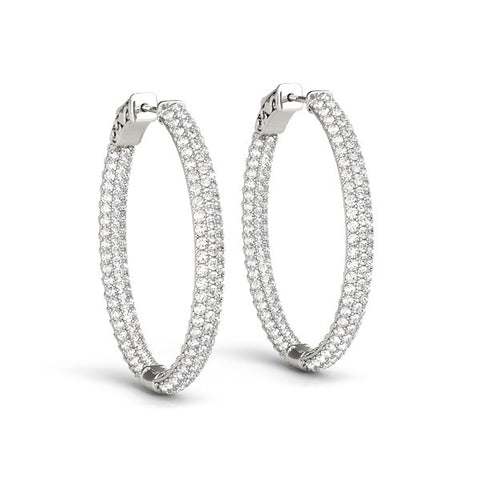 14K White Gold Diamond Hoop Double Sided Three Row Earrings (2 ct. tw.)
