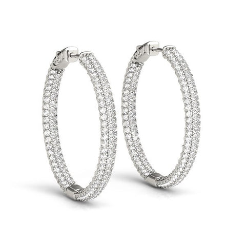 14K White Gold Two Row Pave Set Diamond Hoop Earrings (7 ct. tw.)