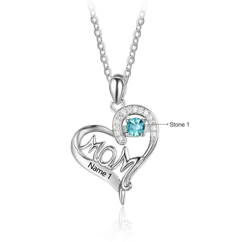 Mom Shape Love and Heart Birthstone Necklace