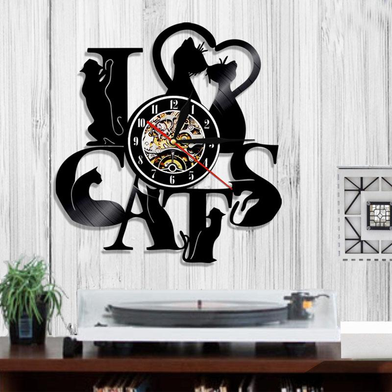 I love cats cd vinyl led lighting wall clock interior art led lighting wall clock interior art valentine decoration the love kin previous mozeypictures Images