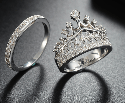 2489a36bf8 King & Queen Crown Couple Rings - The Love Kin