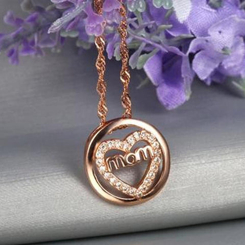 Love Mom Letter Heart Pendants Silver Necklaces