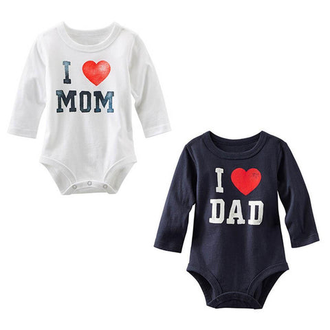 Kids Baby I Love MOM/DAD Long Sleeve Romper Jumpsuit