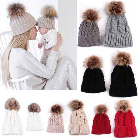 Mom And Baby Knitting Wool Winter Fur Hat 2PCS/Set