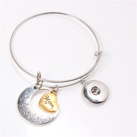 I Love You To The Moon And Back Family Expandable Bangle Bracelet