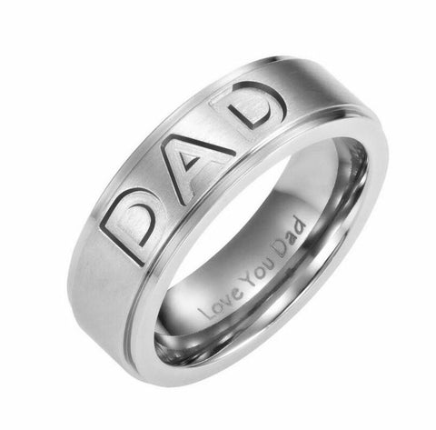 DAD Ring Engraved Love You Dad Mens Ring Gift For Father