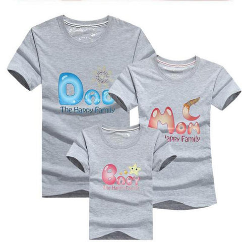 Family Matching Dad Mother Daughter Son Short Sleeve T Shirts