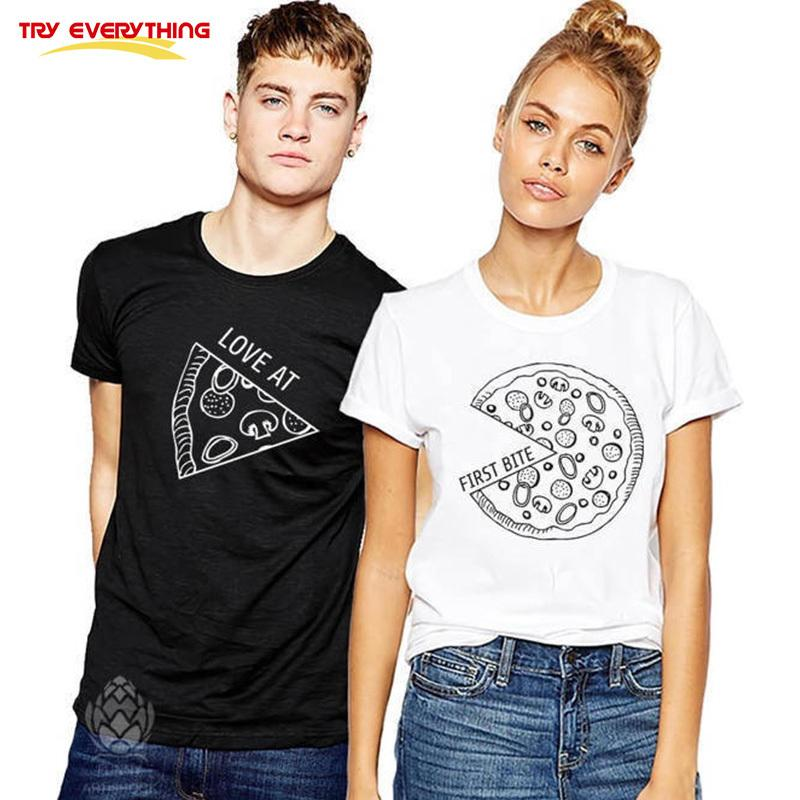 b7d702749f Try Everything Pizza Matching Couple T-Shirts For Lovers - The Love Kin
