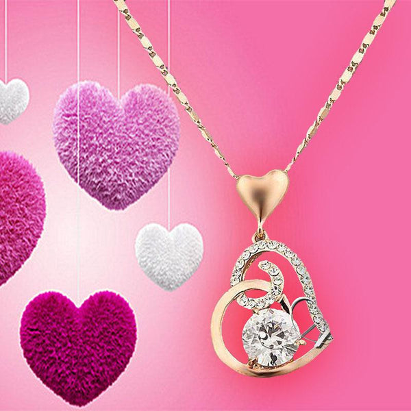 Rose Gold Color Stellux Crystals Heart Pendant Necklace For Valentineu0027s Day