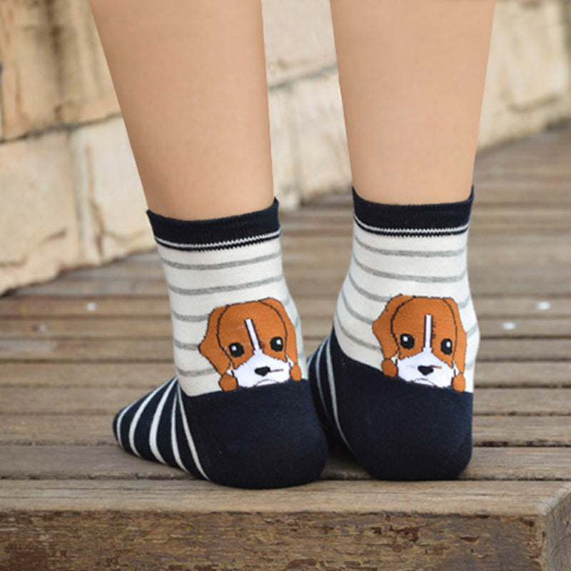 1Pair 2016 New Fashion Womens Girls 3D Animals Style Funny Puppy Print