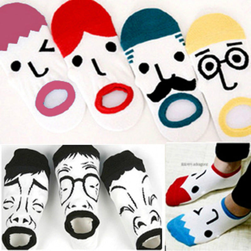 1 Pair Regular Lovely Fashion Women Men Cartoon Shape Sox Couples