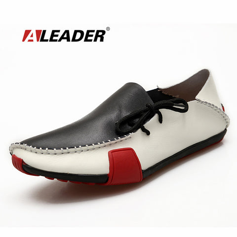 Aleader Genuine Leather Mens Shoes Casual Fashion Big Size Loafers Shoes for Men Hand Made Driving Shoes Men Comfort Flats 39-47