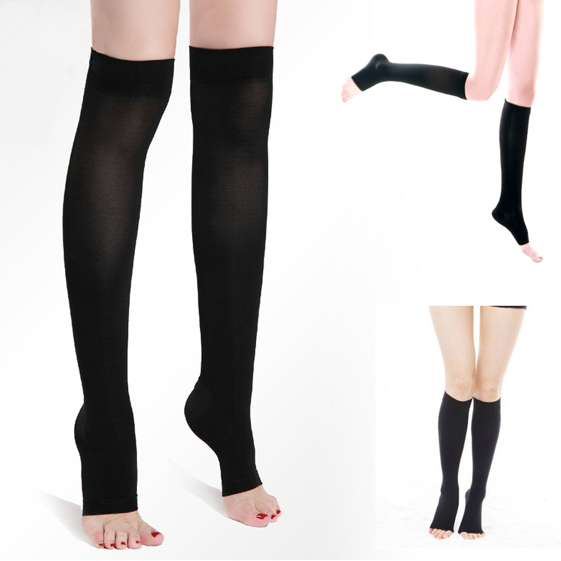 1 Pair New Women Acrylon Knee High Compression Slim Thin Leg 30-40