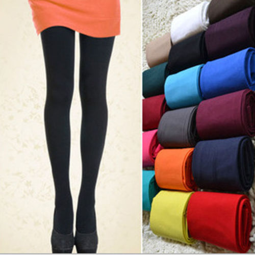 1 Pair 5 Solid Colors Women Lady Sexy Footed Thick Opaque Pantyhose