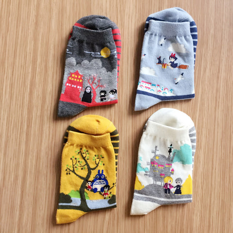 4 Pairs 2017 new Cute Women Japanese Hayao Miyazaki chinchilla socks Cartoon Animal Panda Print Ankle-High Socks