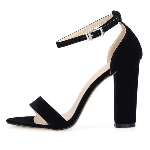 Newest Women Open Toe Summer Ladies Bridal Suede Thick Heel Pumps Sexy Ankle Straps Sandals High Heels  368-1VE
