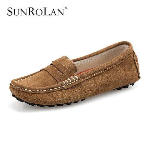 SUNROLAN Women Slip On Loafers Suede Leather Casual Flat Heel Shoes Comfort Footwear Ladies Driving Moccasins Spring Shoes ZM482