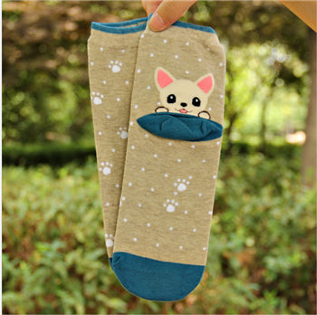 1 Pair  Newly Design Cute Cartoon Cat And Dog Socks Striped Pattern