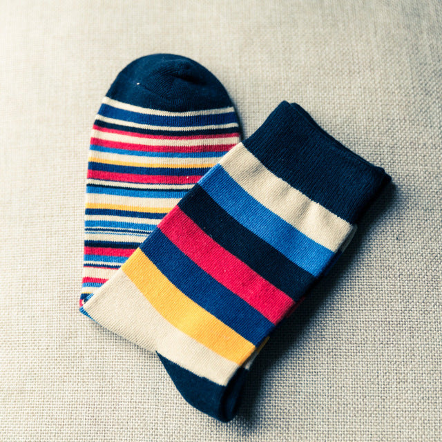 1Pair Comfortable Men's Sock Fashion Casual Colorful Striped