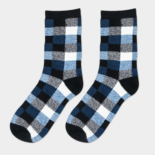 1Pair Mens Novelty Socks Classic Lattice New Fashion Hip Hop Socks For