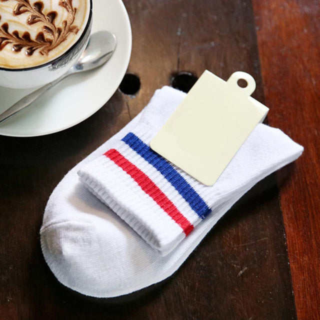 1 Pair New Fashion 2-stripes Soft Cotton Baseball Casual Couples Socks