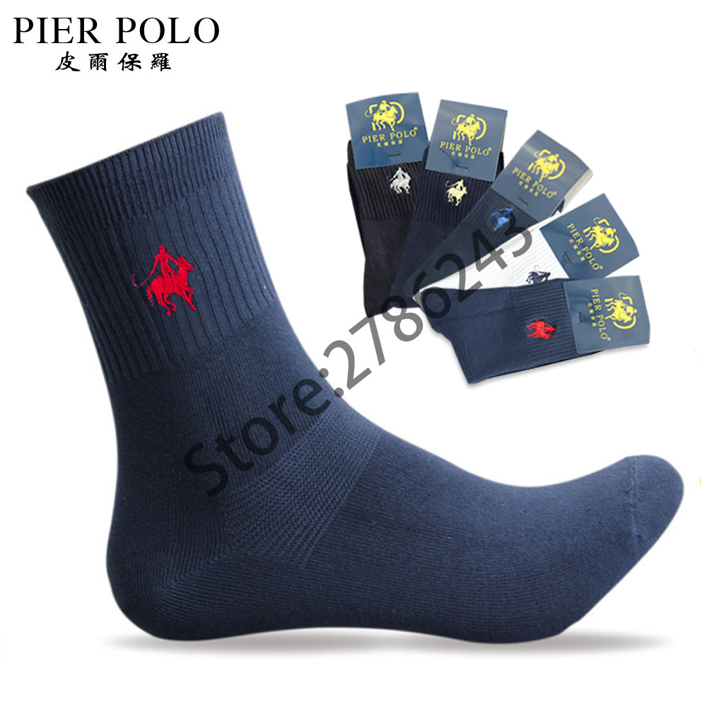 5 pairs/lot PIER POLO Brand Men Socks Embroidery Winter Man Socks
