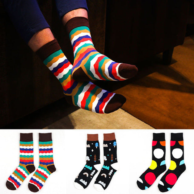 1 lot=3 pairs colourful pattern men Cotton crew happy sock casual
