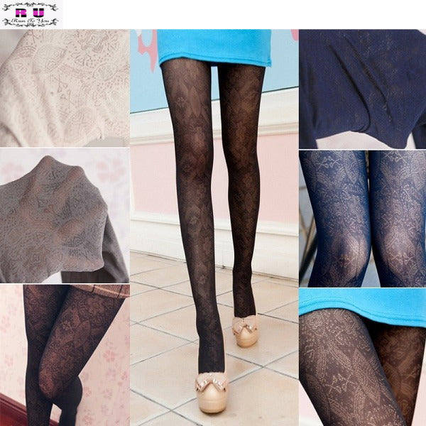 1 PC Fashion Sexy Stocking Retro Hollow Out Totem Velvet Backing