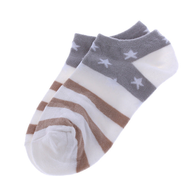 1 Pair Women Girls Candy Color Stars Stripes Low Cut Breathable