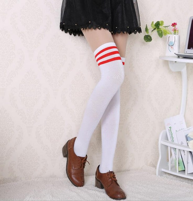 1 pair 4 colors Hot Thigh High Sexy Cotton stocking Women's Striped